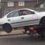 Photos/Video: Man tries to reverse his impounded car, then this happens