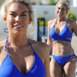 Frankie Essex shows off her size 8 shape in bright blue bikini after three stone weight loss
