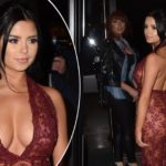 Tyga's ex Demi Rose Mawby flaunts major cleavage in risqué red dress as she dishes the dirt on fling