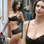 Emily Ratajkowski flashes impressive bum in black lace lingerie as she prances around the streets of New York