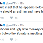 Arrogant, Sturbborn and Ugly Little Monkey Ali should appear before Senate stark naked _FFK