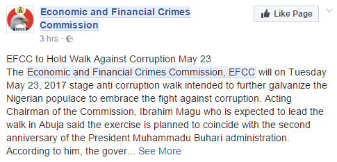 EFCC To Hold Anti Corruption Walk, May 23rd