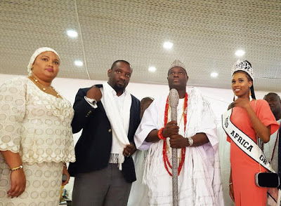Beauty Queen, Miss Africa Great Britain Visits Ooni [ See Photos]