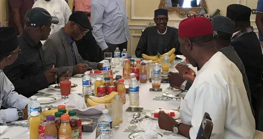 Buhari Is Alive: Cheerful President meets with APC Governors, leaders in London