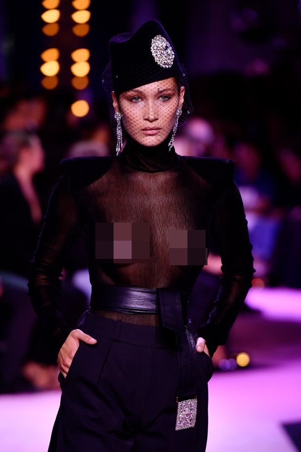 bella, Bella Hadid struts her stuff on the catwalk in sheer nipple-baring design, Latest Nigeria News, Daily Devotionals & Celebrity Gossips - Chidispalace