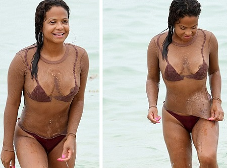 Christina Milian Suffers Wardrobe Malfunction As She Hits The Beach