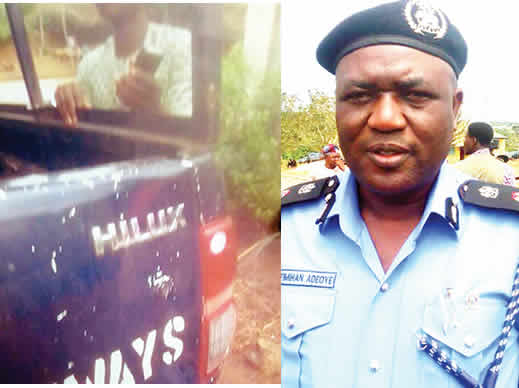 Policemen collecting bribe handcuff passenger to vehicle after driver escaped