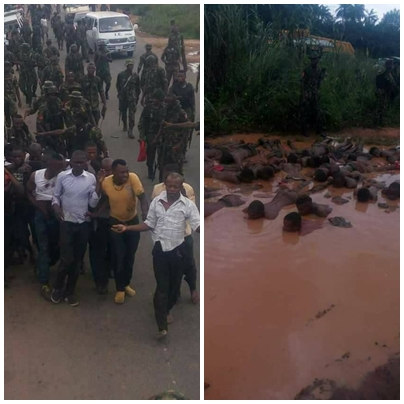 Soldiers force Innocent people to drink poisonous water in Aba (main)