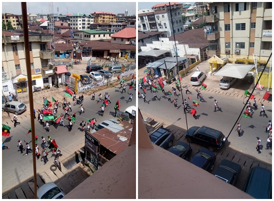 Photo of IPOB members shutdown Onitsha insist on 'No Election in Anambra'