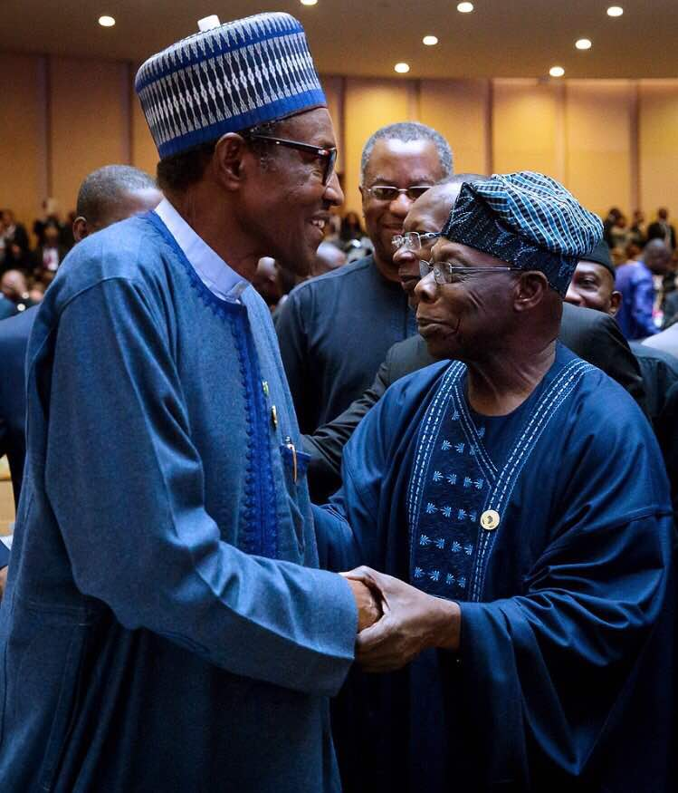See what happened when Buhari met Obasanjo face to face at the AU meeting