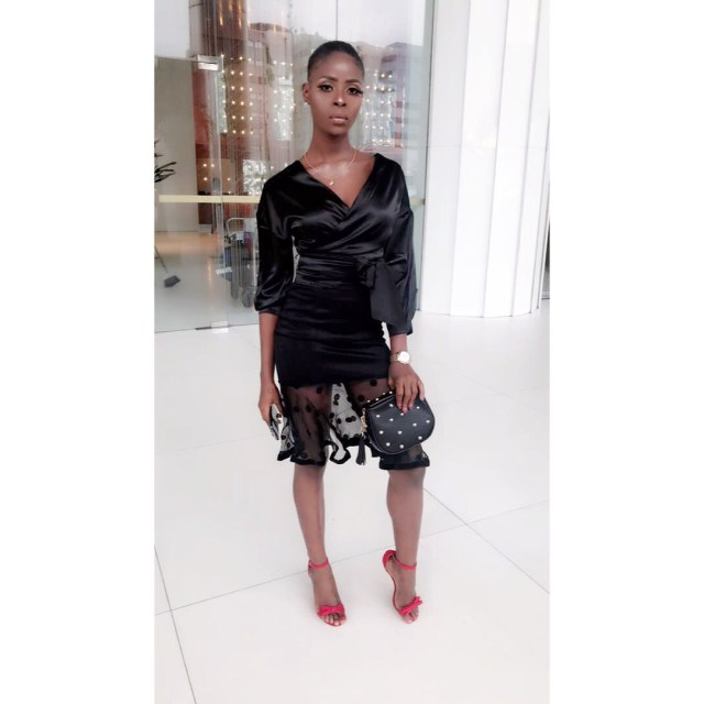 khloe, BBNaija 2018: Khloe glows in black with a touch of red in Lagos (Photos)