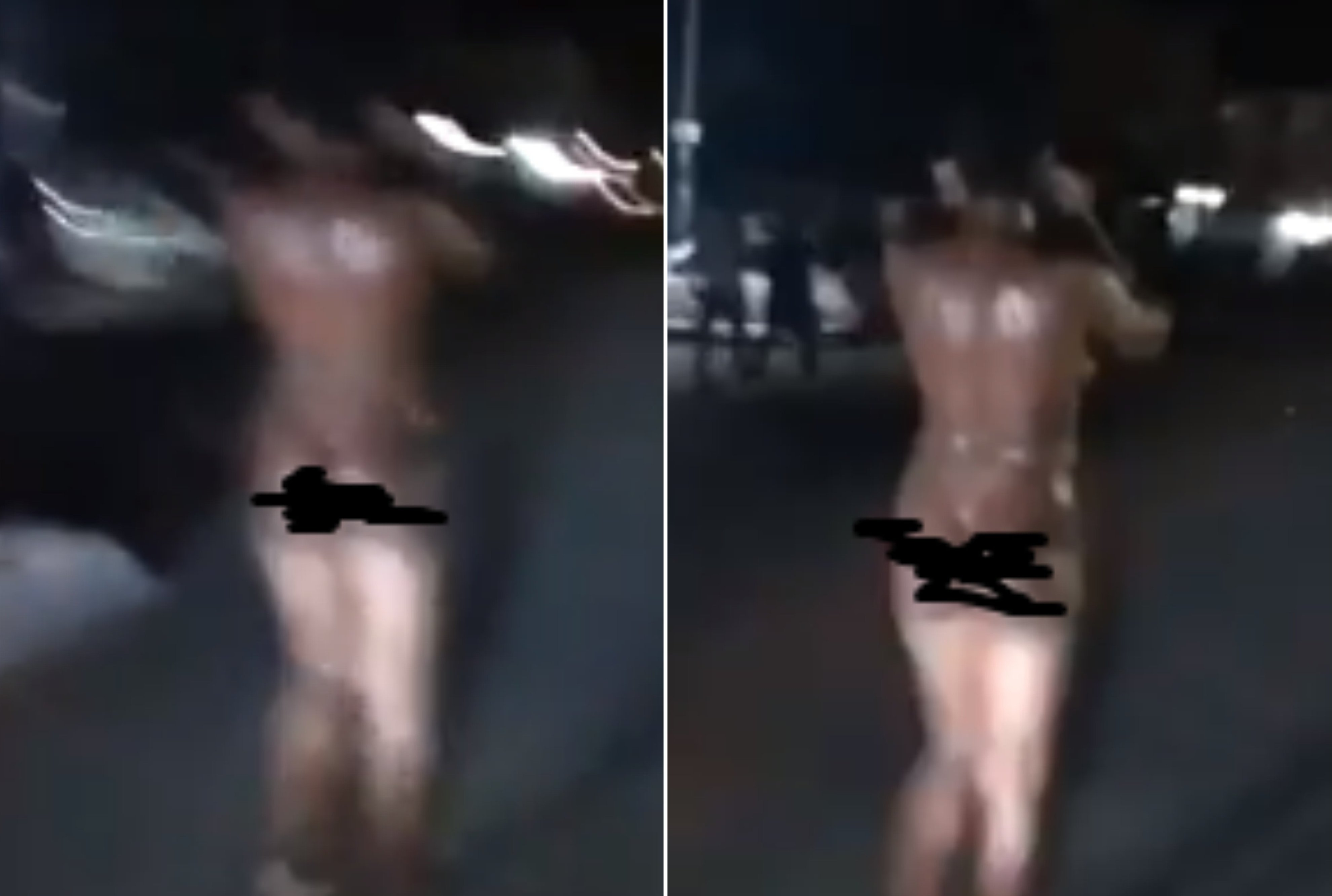 Lady goes mad and naked after she was dropped off by a man - Watch Video