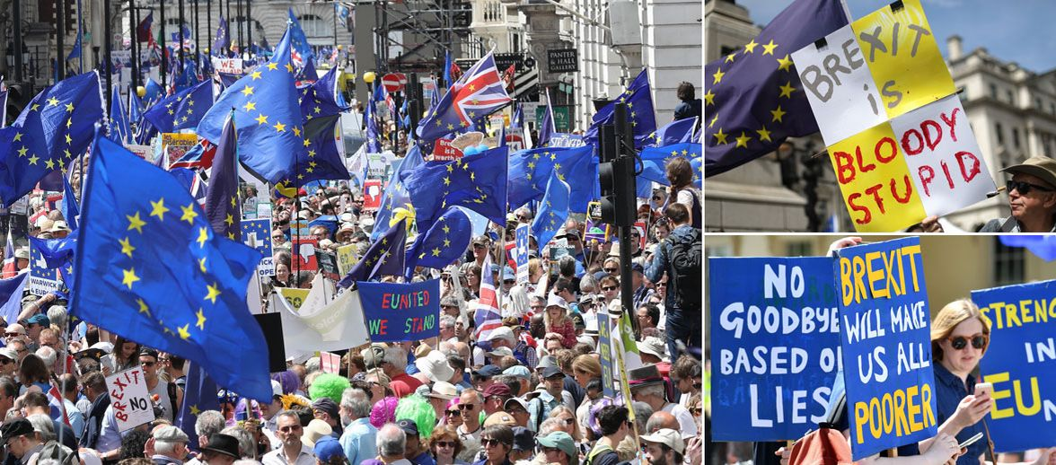 Thousands of Brexit protesters march in London on second anniversary of referendum to demand new vote