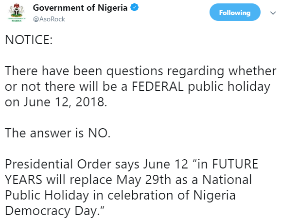 'No public holiday on June 12 2018' says Presidency