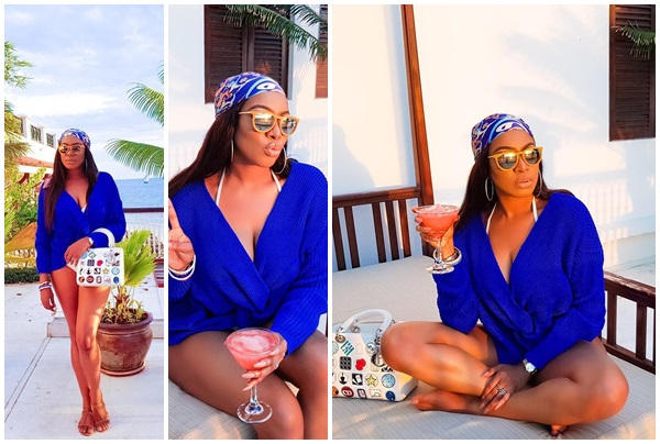 , Actress Chika Ike goes hot on a white pant & blue top says 'My love for you is so deep that the Ocean is jealous'