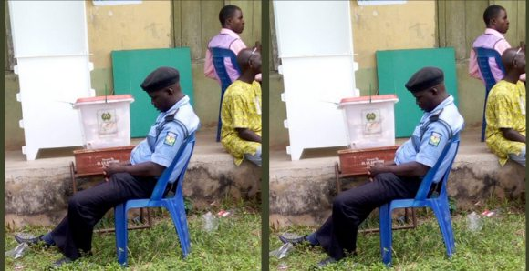 policeman, Hilarious Photo shows how policeman watch ballot box fell asleep in Ekiti state