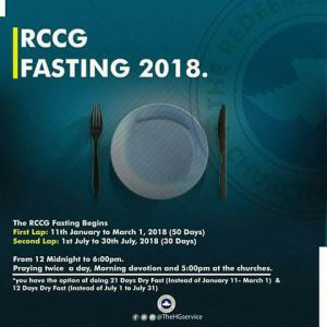 RCCG 21 Days Fasting and Prayer Points 21st July 2018 Day 21 - Final Day
