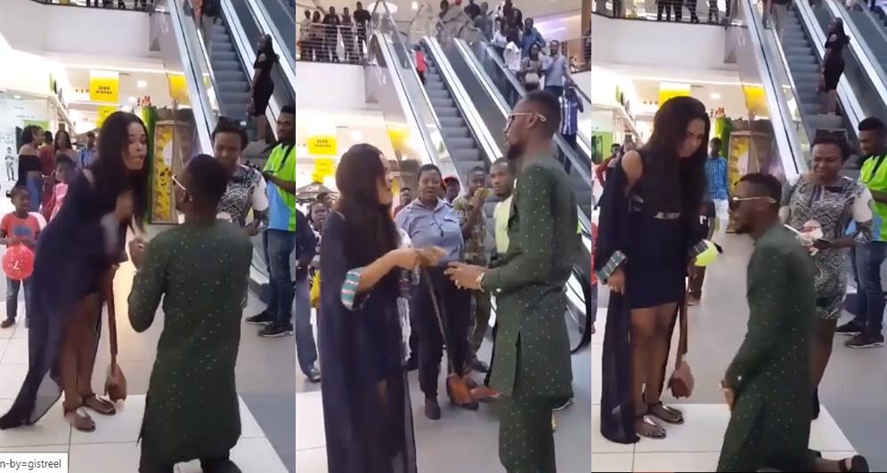 dirty slap, Nigerian man proposes to his girlfriend in public and receives dirty slap (Video)