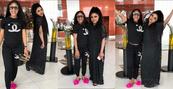 Tonto Dikeh confesses love to Bobrisky as they step out in black