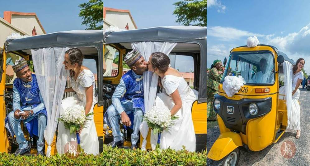 Nigerian man and his American bride wed with tricycle, Hilarious! Nigerian man and his American bride wed with tricycle (Photos), Latest Nigeria News, Daily Devotionals & Celebrity Gossips - Chidispalace