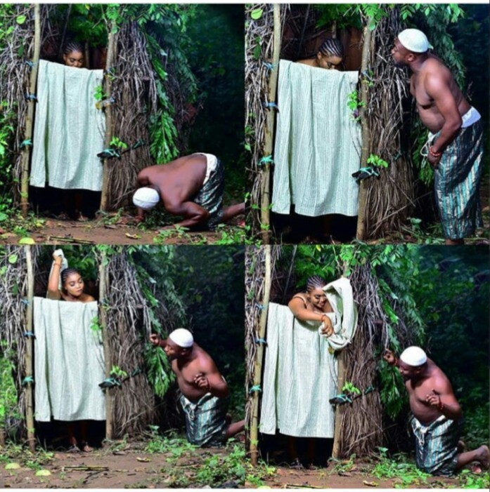 Photo of Hilarious pre-wedding photos of man peeping his wife's nakedness while bathing