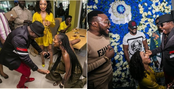 Photo of Tiwa Savage and Tonto Dikeh spotted on their knees greeting Sir Shina Peters (Photos)