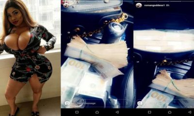 , Roman Goddess flaunts her jaw-dropping assets in revealing dress (Photos)