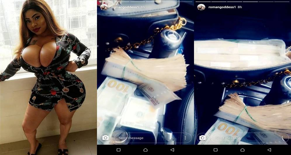 "roman goddess, ""Your Zaddy sent ₦1 million to me"" – Roman Goddess says as she flaunts wads of cash (Photos)"