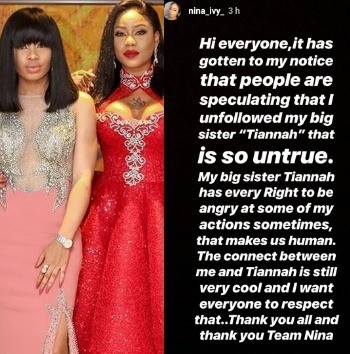 Photo of Nina denies rift with her 'big sister' Toyin Lawani, says she never unfollowed her on IG
