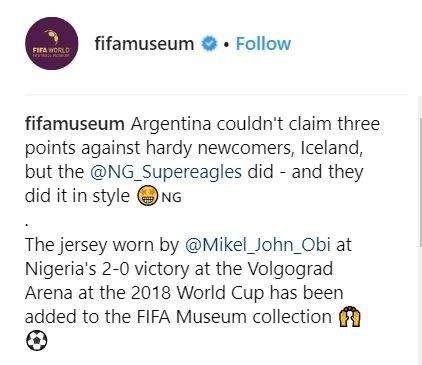 mikel obi, Mikel Obi's jersey worn during 2018 World Cup has been added to the FIFA museum collection