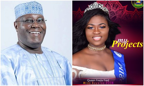 Beauty Queen, Beauty Queen gushes about Atiku's emergence as PDP's Presidential candidate