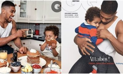 Boxing Champ Anthony Joshua And Son Cover December Edition Of GQ Magazine