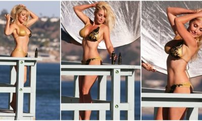 Nikki Lund flashes the flesh in skimpy gold bikini for risque photo shoot for Shahs Of Sunset star Reza