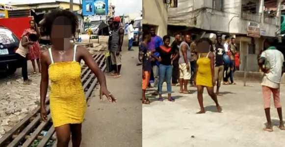 lady, Lady runs mad after allegedly sleeping with married man (Photos)