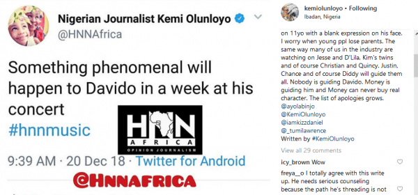 Davido and Kemi, Davido's mum spoke to me and she's not happy with her son – Kemi Olunloyo