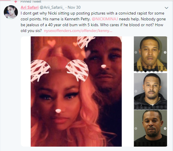 Nicki Minaj, Nicki Minaj is allegedly dating a convicted rapist Kenneth 'Zoo' Petty (Screenshots)