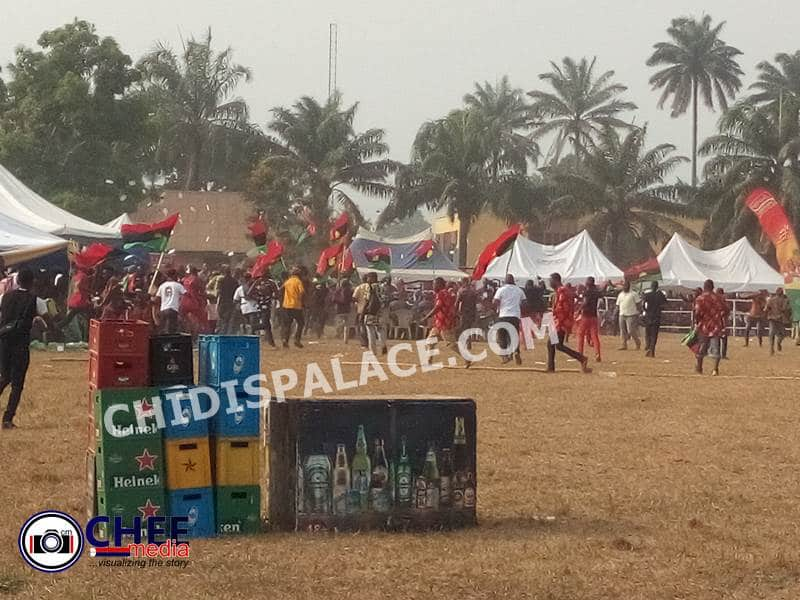 IPOB Members storm Oji Mbaise, IPOB members storm Oji Mbaise venue insist on 'No Election in Biafra land' – Photos/Videos