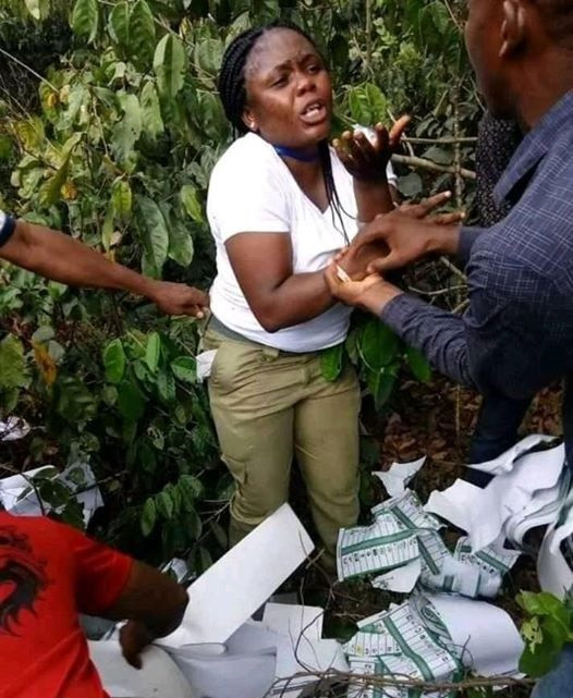 Female Corps member allegedly caught in the bush, Female Corps member allegedly caught in the bush destroying ballot papers in Imo (Photos), Latest Nigeria News, Daily Devotionals & Celebrity Gossips - Chidispalace