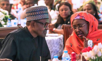 President Buhari, his wife, Aisha and children at the 2019 presidential election victory dinner