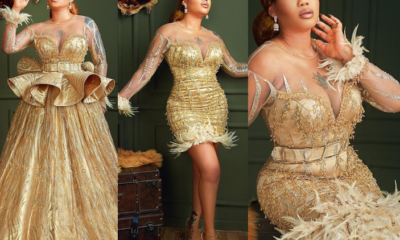 Toyin Lawani stuns celebrates 37th birthday in glittering gold dresses (Photos)