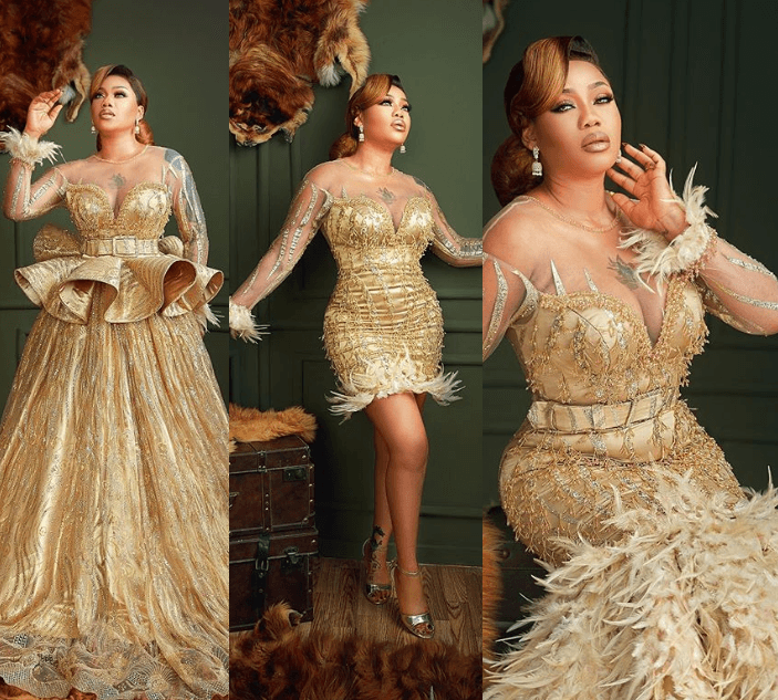 Photo of Toyin Lawani stuns celebrates 37th birthday in glittering gold dresses (Photos)