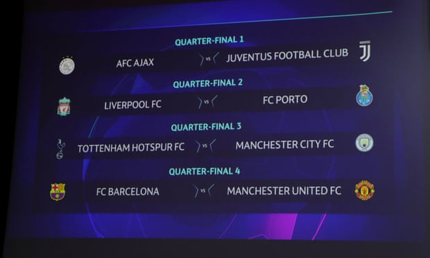 , UEFA Champions League Draw: Spurs v Man City and Barça v Man Utd in last eight – live!