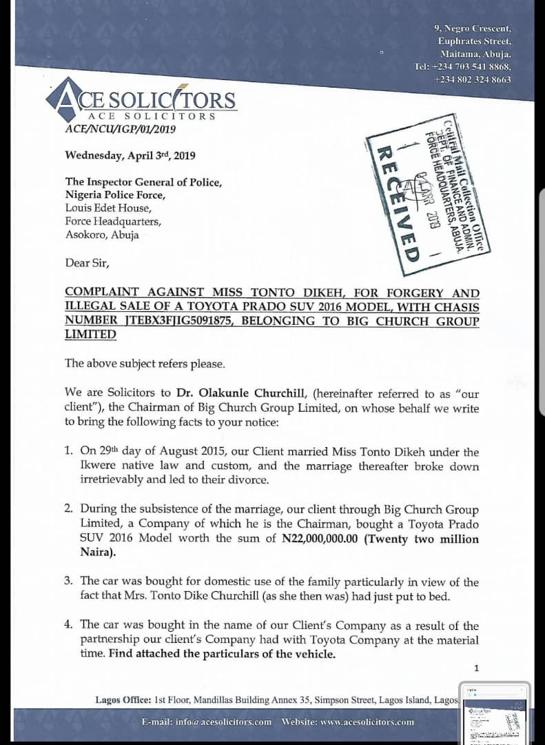 , More Drama: Tonto Dikeh's ex-hubby, Olakunle Churchill petitions Police IG over alleged forgery and illegal sale of his N22million Toyota Prado SUV, Latest Nigeria News, Daily Devotionals & Celebrity Gossips - Chidispalace