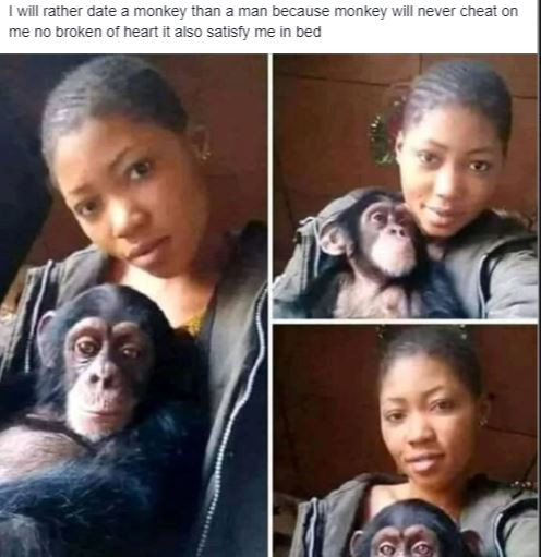 , Viral Photo: 'I will rather date a monkey than a man, because monkeys will never cheat on me. It also satisfies me in bed'