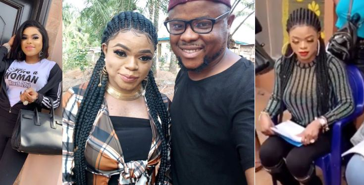 , Bobrisky caught without filters And breast shifted to one side on movie set