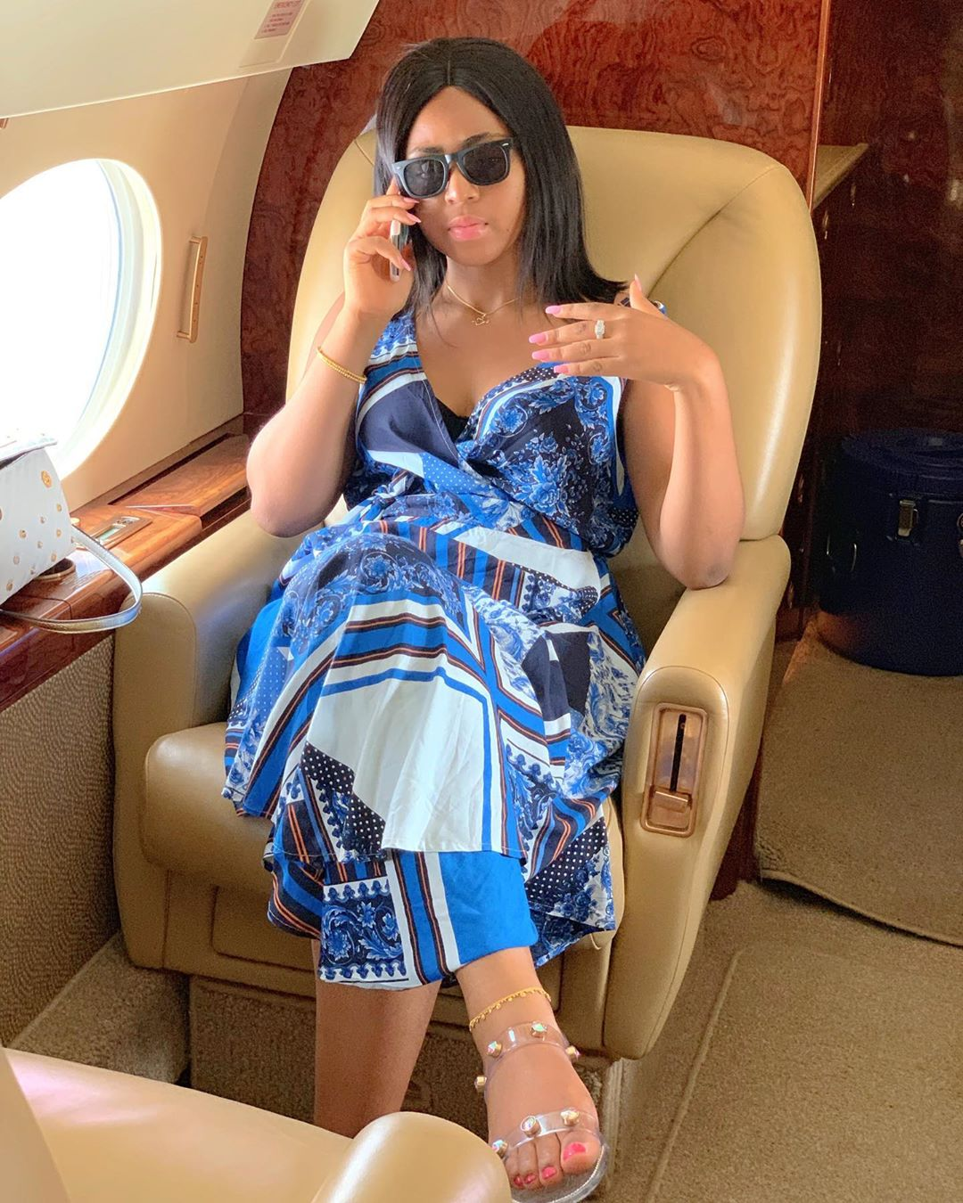 Regina Daniels shows off engagement ring in a private jet