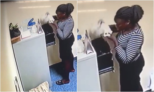 YABATECH student caught on camera stealing over N500k from a company where she was doing her SIWES (Videos)