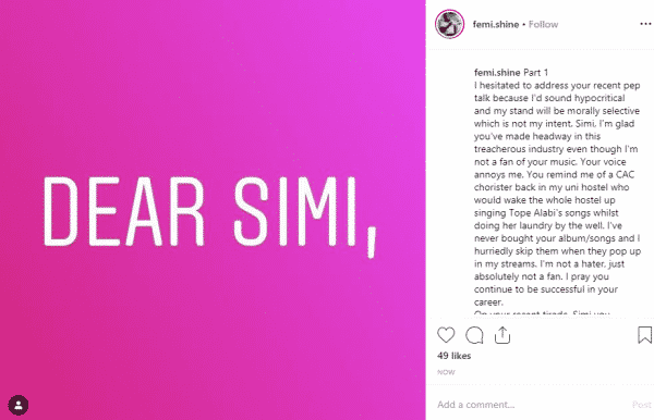 , Dear Simi, your voice annoys me,you lack exposure and empathy, says Canada-based Nigerian man