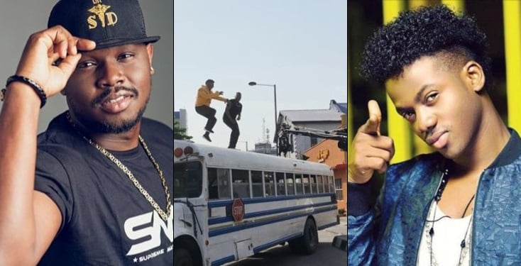 , Watch Moments Dr Sid and Korede Bello nearly fell off the top of a bus while shooting a video