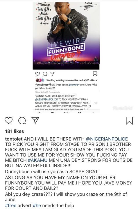 , Tonto Dikeh vows to arrest comedian Funny Bone next month (Screenshot), Latest Nigeria News, Daily Devotionals & Celebrity Gossips - Chidispalace